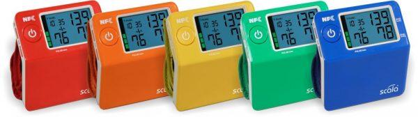 Handgelenk-Blutdruckmessgerät rot, orange, gelb, grün, blau