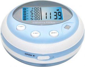 Pillenbox mit fünf Tablettenfächern und frei einstellbaren Alarmzeiten für jedes Fach